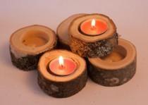 wedding photo - Set of 10 wedding candle holders, tea light holder, oak candleholders, rustic wedding decor, log holder, wedding favors, christmas decor