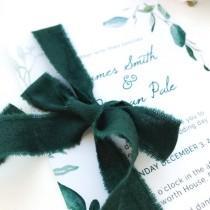 wedding photo - Hunter green cotton ribbon Invitation wedding ribbon Satin ribbon Gift wedding wrapping