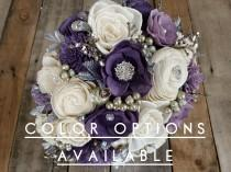 wedding photo - Silver Brooch and Glitter Wood Flower Bouquet, mulitple colors available, bridal bouquet, bridesmaid bouquet, flower girl bouquet