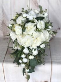 wedding photo - Cascade Wedding bouquet, Bridal bouquet, White & Ivory silk wedding flowers, Cascade Bridal flowers, Peony bouquet, Silk Bridal bouquet