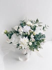 wedding photo - Wedding bouquet, White Bridal Bouquet, White Peony Bouquet, Wedding flowers, Eucalyptus wedding bouquet, Silk flower Bouquet, Bridesmaids