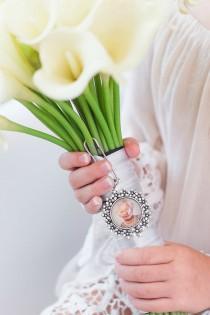 wedding photo - Bridal Shower Gift, Bouquet Photo Charm, Memorial Keepsake Bouquet Charm, Picture Bouquet Charm
