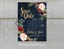 wedding photo - Elegant Rustic Navy Floral Fall Wedding Save The Date Card,Calendar,Burgundy,Blush,Navy Blue,Roses,Gold Print,Shimmery,Printed Card