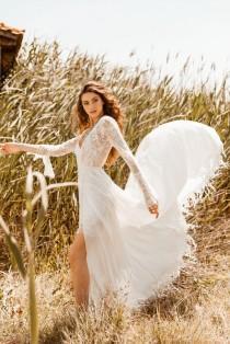 wedding photo - LUCITA Boho Wrap Skirt French Lace Wedding Dress, Bohemian V Neck Ari Wedding Deress, Ivory Nude Hippie Beach Boho Bride Sexy Wedding Dress
