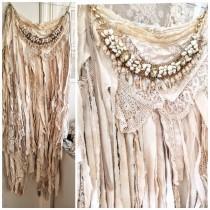 wedding photo - Boho wedding skirt,fairy airy trashed skirt, ragged antique fabric, RawRags white and cream romantic skirt
