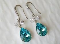 wedding photo - Turquoise Teardrop Crystal Earrings, Swarovski Light Turquoise Bow Earrings, Light Teal Dangle Wedding Earrings, Teal Bow Bridal Earrings