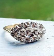 wedding photo - 1940s Diamond Filigree East West Engagement Ring 10K!