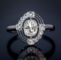 wedding photo - 1.90ct Old European Cushion  Vintage Art deco Ring in Sterling Silver, Antique Ring, Vintage Ring, Engagement Ring, Filigree Work Ring