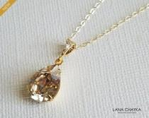 wedding photo - Champagne Gold Crystal Necklace, Swarovski Light Silk Teardrop Necklace, Champagne Bridal Necklace, Wedding Crystal Pendant, Bridal Jewelry