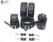 wedding photo - Real Cow Leather Wrist, Ankle Thigh Cuffs Collar Restraint Bondage Set Black 8 Piece Padded Cuffs