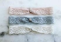 wedding photo - Lace Wedding Garter, Dusty Blue Stretch Lace Bridal Garter, Blush Pink Garter, Ivory Garter, Silver / Gold / Black / Rose Gold Garter