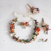 wedding photo - Rust hair crown wedding, burnt orange headband, orange flower girl crown, flower headband, boho head wreath, rustic crown, woodland crown