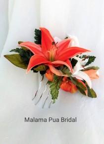 wedding photo - TROPICAL hair clip, hair accessory, Real Touch lilies, Bridal hair piece, Custom floral comb, Wedding headpiece, Hawaiian, silk flower,Beach