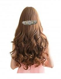 wedding photo - White Bridal Circle Beaded Hair Barrette, Native Inspired Tribal Rosette Clip, Crystal Hair Clip