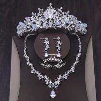 wedding photo - Silver Tiara & Necklace Set with Crystals-Wedding Accessories,Bridal Jewellery-Silver Wedding Crown-Bridal Tiara set-Wedding Jewellery