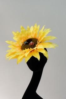 wedding photo - Small Sunflower Fascinator By Hats2go