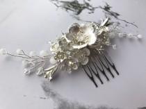 wedding photo - Bridal hair comb Flower hair comb Silver hair comb Flower hair piece Wedding hair comb