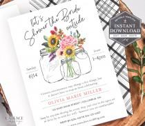 wedding photo - Drive-by Bridal Shower Invitation, Botanical Bridal Shower Invite, Drive-by Shower Invite, Farmhouse Bridal Shower, Printable, Corjl, M20