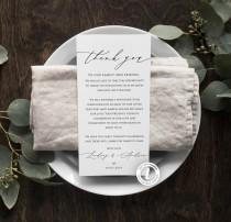 wedding photo - Wedding Thank You Note Template, Rustic, Wedding Place Setting Thank You, Table Card, Editable, Instant Download, Wedding Table Decor, BD50