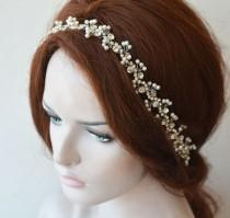 wedding photo - Pearl Headpiece For Bride, Rhinestone and Pearl, Crystal Bridal Forehead Jewelry, Bridal Hair Piece, Bridal Hair Vine, Headband For Wedding
