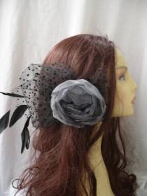 wedding photo - Grey flower hairpiece, Flower headpiece, Flower clip, Flower feathers, Womens accessories, Wedding accessories, Flower hair, Woman hair