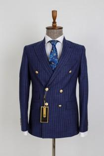 wedding photo - Double Breasted Striped - Golden Button Men Suit Desginer Bespoke Suit