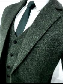 wedding photo - Green Herringbone 3 Piece Tweed Suit