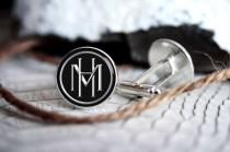 wedding photo - Monogrammed initials personalized cufflinks, cool gifts for men, custom wedding silver plated or black cufflink
