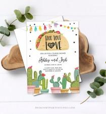 wedding photo - Editable Taco Bout Love Fiesta Couples Shower Invitation Cactus Succulent Green Pink Bridal Shower Download Printable Corjl Template 0254