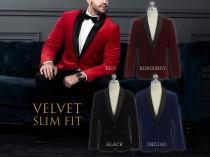 wedding photo - Men Slim Fit Premium Velvet Suit Blazer Black Satin Shawl Lapel, Black, Indigo Blue, Burgundy Wine, Red, Size 34R to 46R