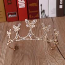 wedding photo - Gold Bridal Tiara With Butterflys,Womens headwear,Flowergirl Tiara,Handmade Tiara,Butterfly Tiara,Brides Accessories,Wedding Headpiece