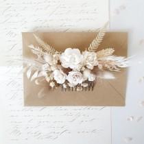 wedding photo - Flower hair comb, Flower preserved hair comb, Wedding flower clip, Blush floral comb, Bridesmaids hair comb, Bridal headpieces