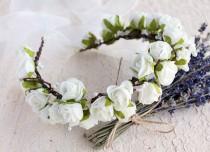 wedding photo - Ivory Bridal Crown, Boho Rose Halo, Flower Girl Wreath, Communion Crown, Woodland Headband, Boho Flower Girl Crown, Ivory Rose Wedding Crown