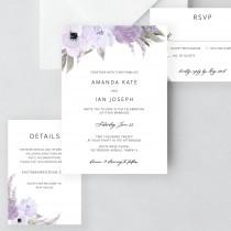 wedding photo - Lillian - Lavender Wedding Invitation Template Download, Wedding Invitation Set, Purple Floral Wedding Suite, Editable Instant Download