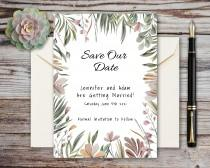 wedding photo - Wedding Save the Date Card, Tropical Floral Watercolor, Editable Template, Instant Download