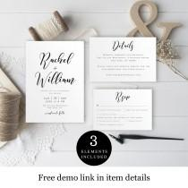 wedding photo - Rustic Wedding Invite Set Template, Downloadable, 100% Editable, Templett, Print at home, DIY Invitation, RSVP Card, Casual, Simple #vmt510