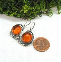 wedding photo - Baltic amber earrings round shape orange cognac amber USSR vintage jewelry 1980s retro style gift for wife girlfriend birthday anniversary