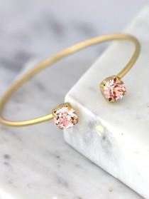 wedding photo - Blush Bracelet, Bridesmaid Blush Bracelets, Swarovski Crystal Blush Cuff, Peach Bracelet, Bridal Dust Pink Bracelet, Bridal Gold Bracelet
