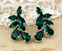 wedding photo - Emerald Earrings, Bridal Earrings, Bridal Emerald Earrings, Bridesmaids Earrings, Gift For Her, Green Earrings, Emerald Green Stud Earrings