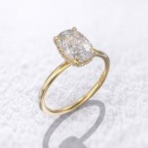 wedding photo - Payment plan -  elongated cushion cut engagement ring 1.5 carat solitaire crushed ice moissanite 9x6mm & 0.08 ct Hidden halo diamond 14k