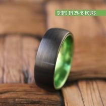 wedding photo - Black Green Tungsten Ring, Wedding Band, Mens Wedding Band, Tungsten Ring, Wedding Ring,Tungsten Wedding Band, Promise Ring, Engagement Ring