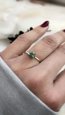 wedding photo - Genuine Emerald Ring, Raw Emerald Engagement Ring, Dainty Emerald Ring, Emerald Stacking Ring, Raw Gemstone Ring, May Birthstone Ring