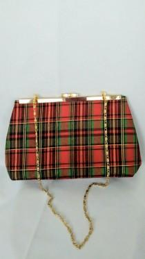 wedding photo - Red Plaid clutch  purse, plaid holiday purse, red satin purse, red and green handbag, green plaid purse