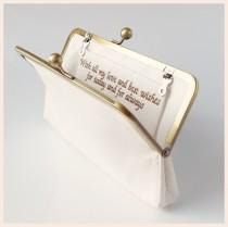 wedding photo - personalised clutch bag, ivory, navy blue, pink or champagne silk custom made bag with special message