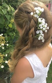 wedding photo - Gypsophila Flower Spray Babys Breath Hair Pin Slides Bridal Bride