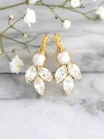 wedding photo - Bridal Pearl Earrings, Bridal Earrings, Bridal Crystal Earrings, Bridesmaids Earrings, Swarovski Crystal Earrings, Gift For Her.