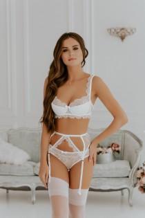 wedding photo - Women lingerie set, Lingerie bridal, Lingerie set garter, Bridal lingerie set, White lingerie set, Lace lingerie, Sexy lingerie, Push up bra