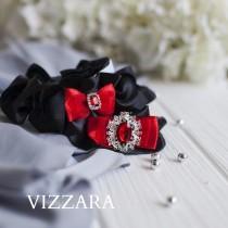 wedding photo - Wedding garter Black tie wedding Garters wedding Black and red wedding Garter sets for wedding Red black and silver wedding Black and red