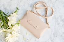wedding photo - Nude leather clutch bag / Nude envelope clutch / Available with wrist or shoulder strap / Genuine leather / Bridesmaid gift / SMALL SIZE