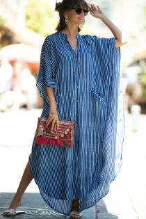 wedding photo - Blue & White Striped Oversize Kaftan Dress, Bohemian Hipster Buttoned Caftan with Pockets, Summer Urban Vacation Hippie Plus size Maxi Dress